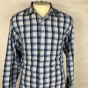 Tommy Bahama Mens Blue Plaid Long Sleeve Button